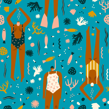 Summer cartoon illustration with swimmers in the ocean. Various of woman snorkelling under the sea seamless pattern in vector.