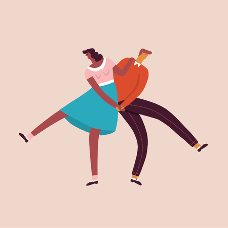 Dancing characters couple card in retro 50s style.