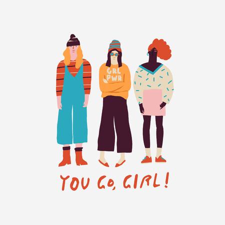 Young women friends illustration 免版税图像
