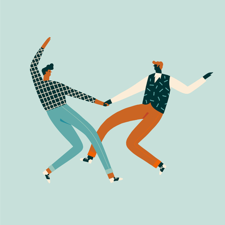 Dancing couples people card. Cartoon characters illustration.