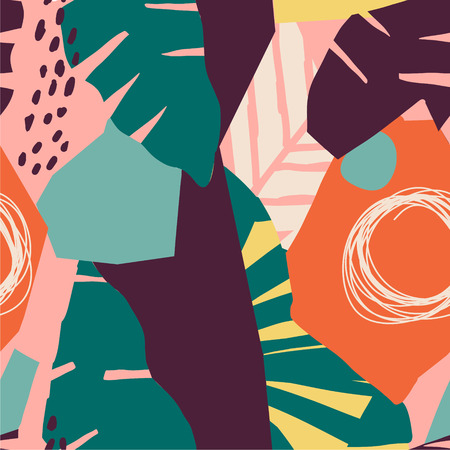 Modern exotic jungle fruits and plants illustration in vector.