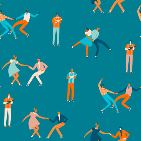 Dancing couples people seamless pattern in vector. Cartoon characters illustration. Stockfoto - 116861164