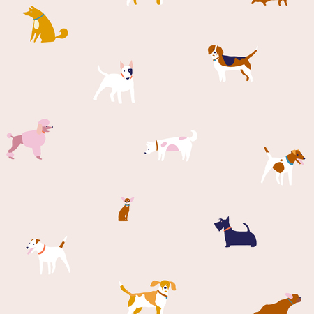 Breed of dogs illustration in vector. Puppies dog seamless pattern. Stock Illustratie