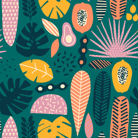 Modern exotic tropical hawaiian fruits and plants seamless pattern in vector Illustration