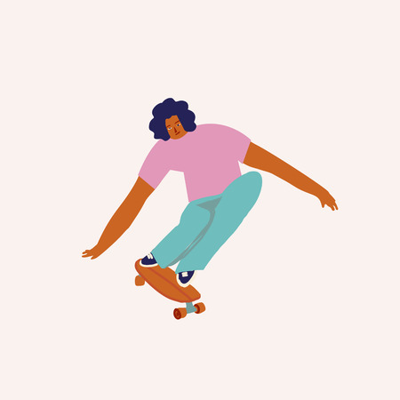 Boy skateboarder ride a skate illustration in vector. Skateboarding characters collection.