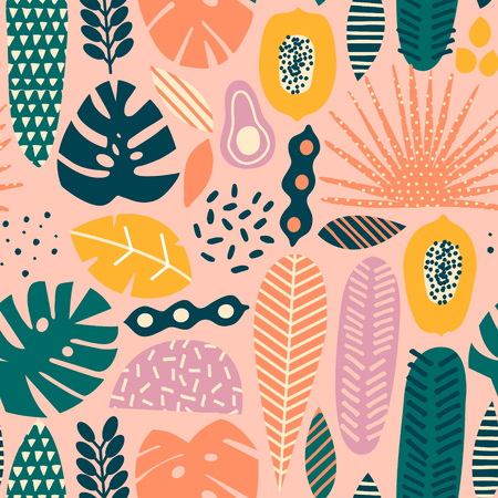 Contemporary primitive floral tropical seamless pattern in vector