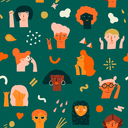 International women day 8 of March seamless pattern with various of women faces different race, age and profession.
