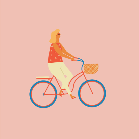 Women cycling a bicycle. Sport activity of people illustration in vector.