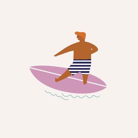 Kids surfing illustration in vector. Summer travel poster or card