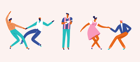 Collection of dancing cartoon characters in vector in mid-century rockabilly style.