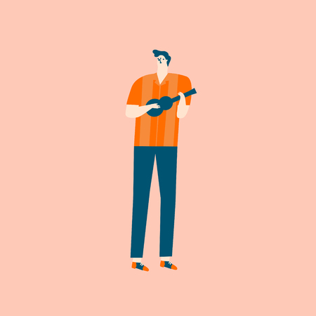Guitar player musician cartoon character in mid century rock-n-troll style in vector