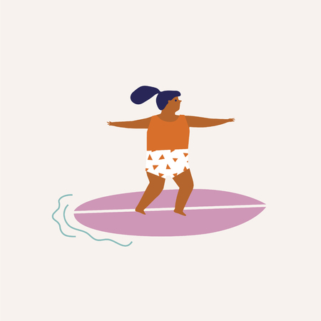 Kids surfing illustration in vector. Summer travel poster or card