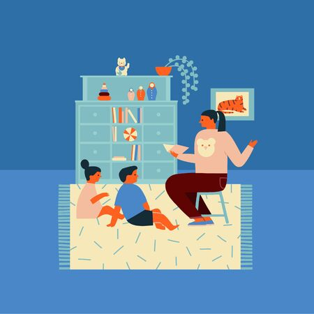 Mother reading book telling story to kids spending time at home 矢量图像