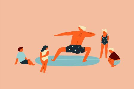 Surf school lesson with teacher teaching kids surfing illustration in vector. Education of children concept.