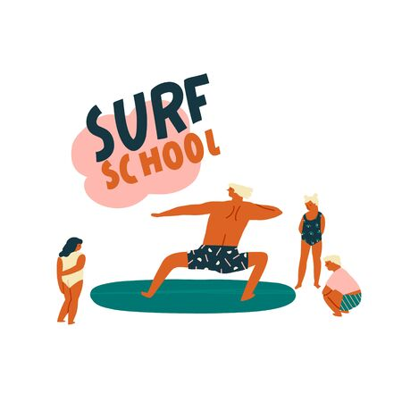Surf lesson with teacher teaching kids surfing illustration in vector. Education of children concept.