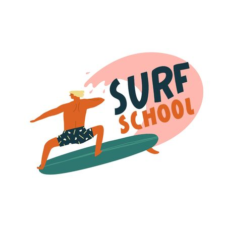Surf school logo with funny character surfer catching the wave. Summertime beach surfing illustration in vector