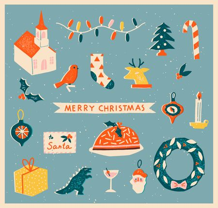 Vintage toys Christmas greeting card or poster with various of decoration and presents and text quote. Winter holiday illustration collection.