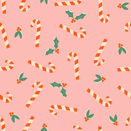 Christmas winter holiday seamless pattern with lollipop candy and mistletoe
