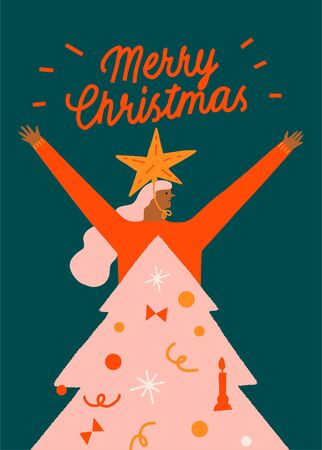 New year and Christmas funny greeting card with girl wearing a decorated Christmas Tree costume. Winter holiday collection. 矢量图像