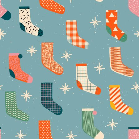 Vintage Christmas socks with presents seamless pattern in vector. Winter holiday card, or wrapping paper