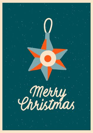 Merry Christmas card with Christmas ornament and text quote in vector. New year greeting card r poster.