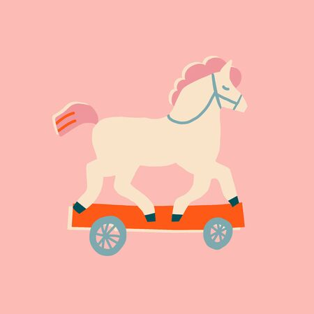 Toy vintage horse with wheels illustration. Baby shower card or poster.