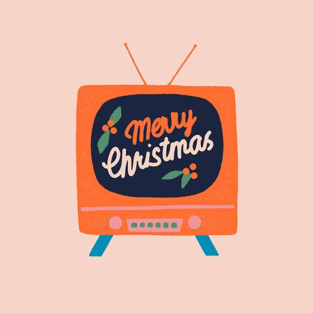 Vintage tv show with Merry Christmas sign greeting card in vector. Winter holiday postcard and posters. 矢量图像