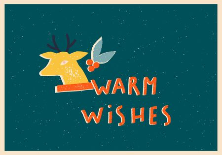 Christmas and New Year greeting card with warm wishes sign and Santa Claus deer and mistletoe in vector. 矢量图像