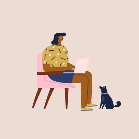 Communication of people by the Internet, social networking, messages, web site, search friends, chat, video, mobile vector illustration. Girl working on laptop, chasing with avatars of social network. 矢量图像