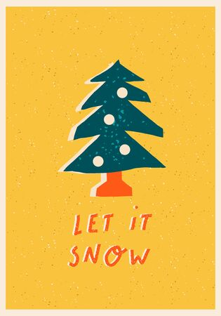 Christmas and New Year tree cartoon illustration for greeting card or poster with text quote.