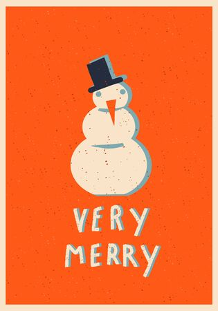 Very Merry Christmas Card and poster with snowmen and text quote. 矢量图像