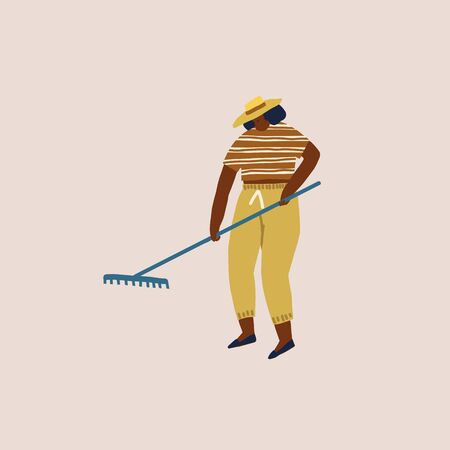 Women growing vegetables and flowers illustration in vector. Gardener or farmer female cartoon character working in the garden.