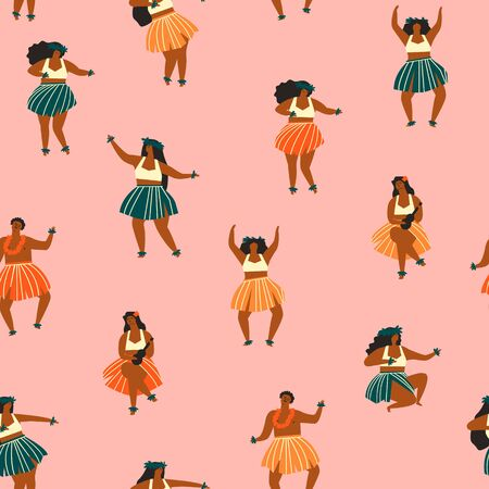 Travel summer print. Hawaii dance seamless pattern. Women dancers playing ukulele and dancing Hula.