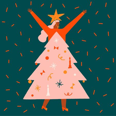 New year and Christmas funny greeting card with girl wearing a decorated Christmas Tree costume. Winter holiday collection.  イラスト・ベクター素材