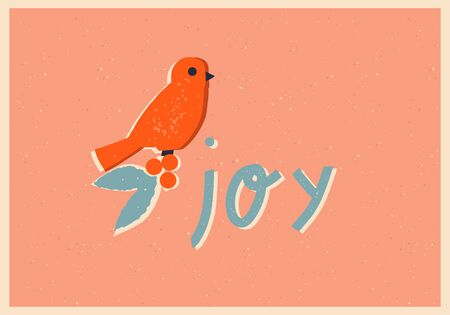 Merry Christmas vintage card with bird bullfinch, mistletoe and greeting text quote Joy.