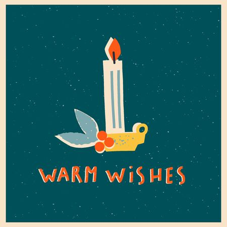 Christmas and New Year card with vintage candle and warm wishes text quote in vector. 矢量图像
