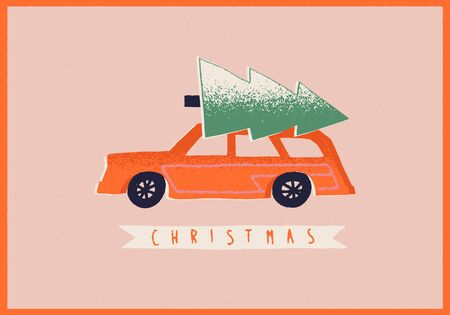 Christmas card with retro car and a fir tree on the top. New Year Greetings.
