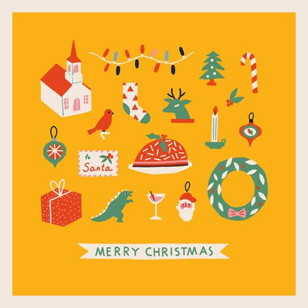 Merry Christmas card or poster with various of Christmas toys and decorations with traditional food and drinks.