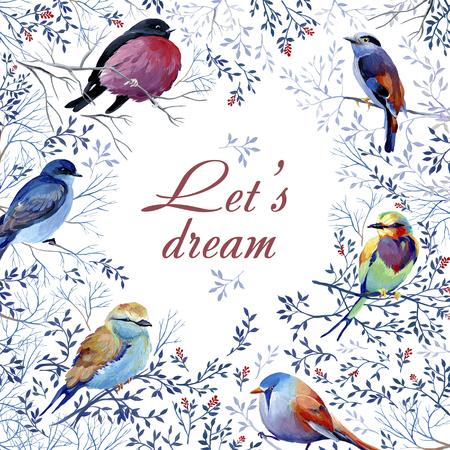 Gouache birds postcard 写真素材