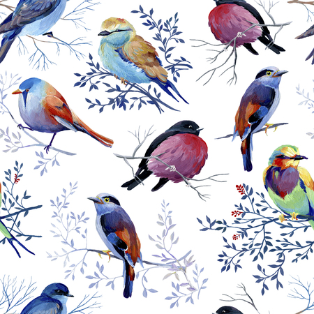 Seamless pattern of gouache birds on white bakground. Big version of birds. Natural cliparts for wedding design, artistic creation.