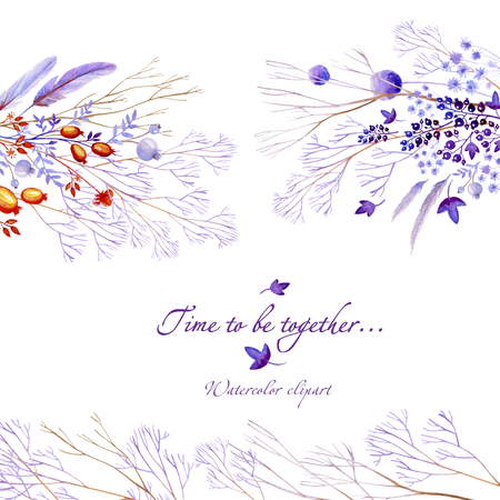 Lilac watercolor natural postcard with horizontal elements. Natural cliparts for wedding design, artistic creation.