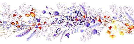 Lilac watercolor natural border. Natural cliparts for wedding design, artistic creation.