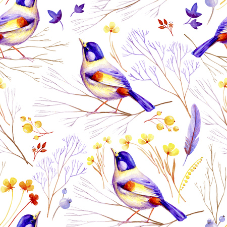 Seamless lilac-yellow bird