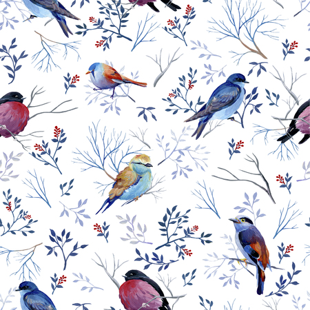 Seamless pattern of gouache birds on white bakground. Average version of birds. Natural cliparts for wedding design, artistic creation.