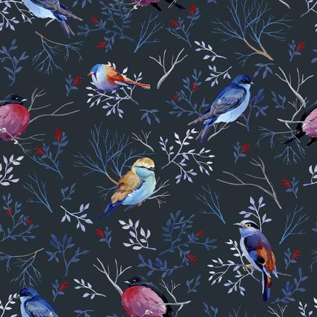 Seamless pattern of gouache birds on dark bakground. Average version of birds. Natural cliparts for wedding design, artistic creation.