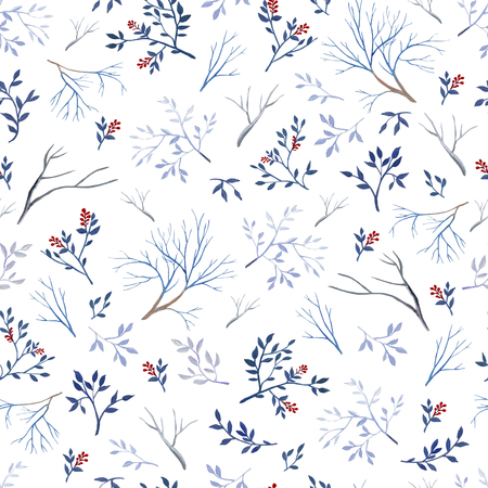 Seamless pattern of gouache branches on white bakground. Natural cliparts for wedding design, artistic creation.