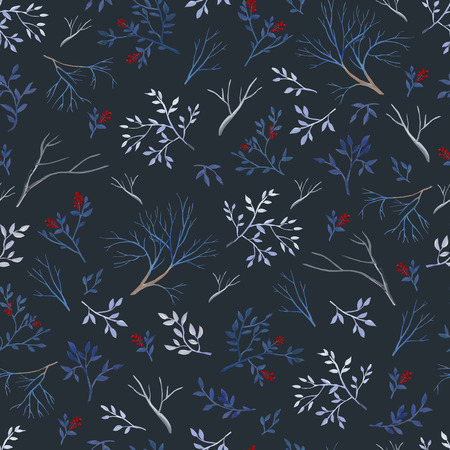 Seamless pattern of gouache branches on dark bakground. Natural cliparts for wedding design, artistic creation.