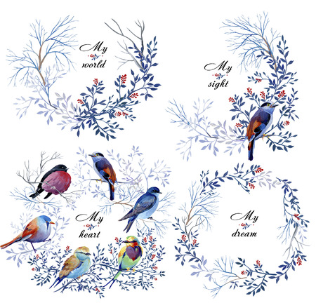 Gouache nature wreaths with birds and branches. Clipart consist of berries, flowers, leaves, bird and branches. 写真素材