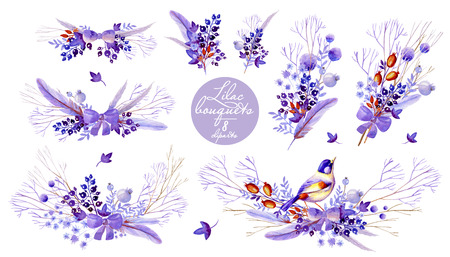 Lilac bouquet cliparts. Natural cliparts for wedding design, artistic creation. 写真素材