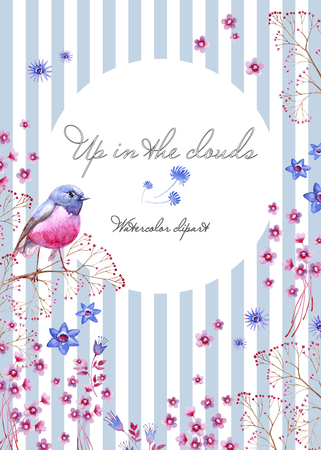 Nature postcard with a striped background. Summer cliparts for wedding design, artistic creation.